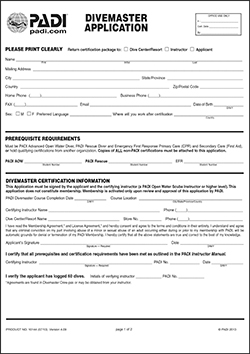 Divemaster Application Form